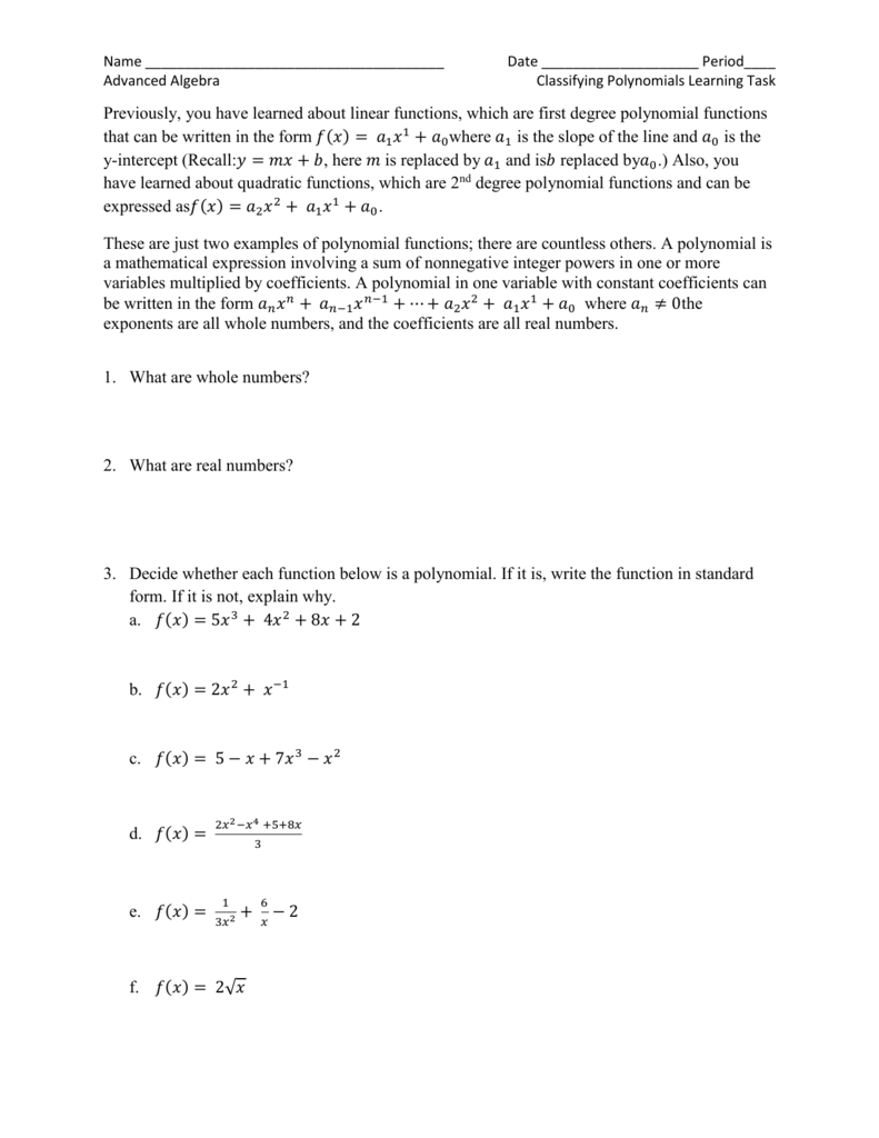 Naming Polynomials Worksheet Rringband