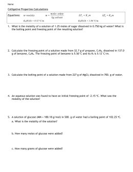Colligative properties calculations