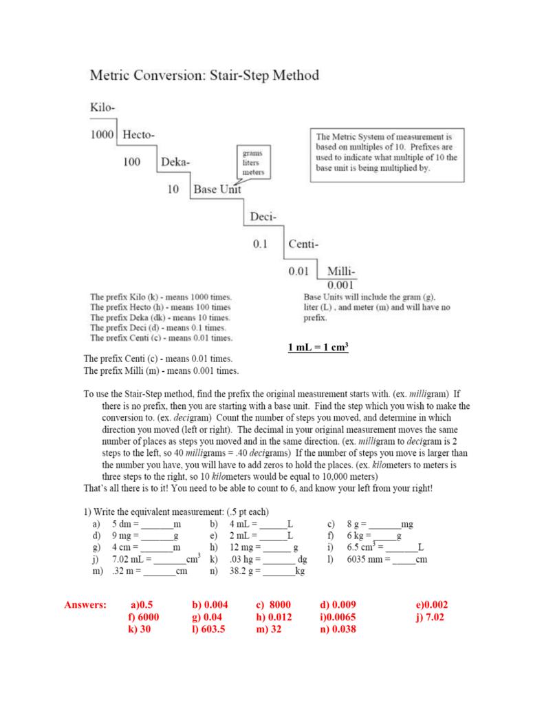 Metric Worksheet Answers