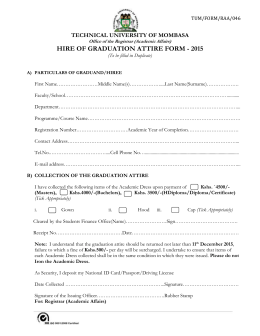Hire of graduation gown Form 2015