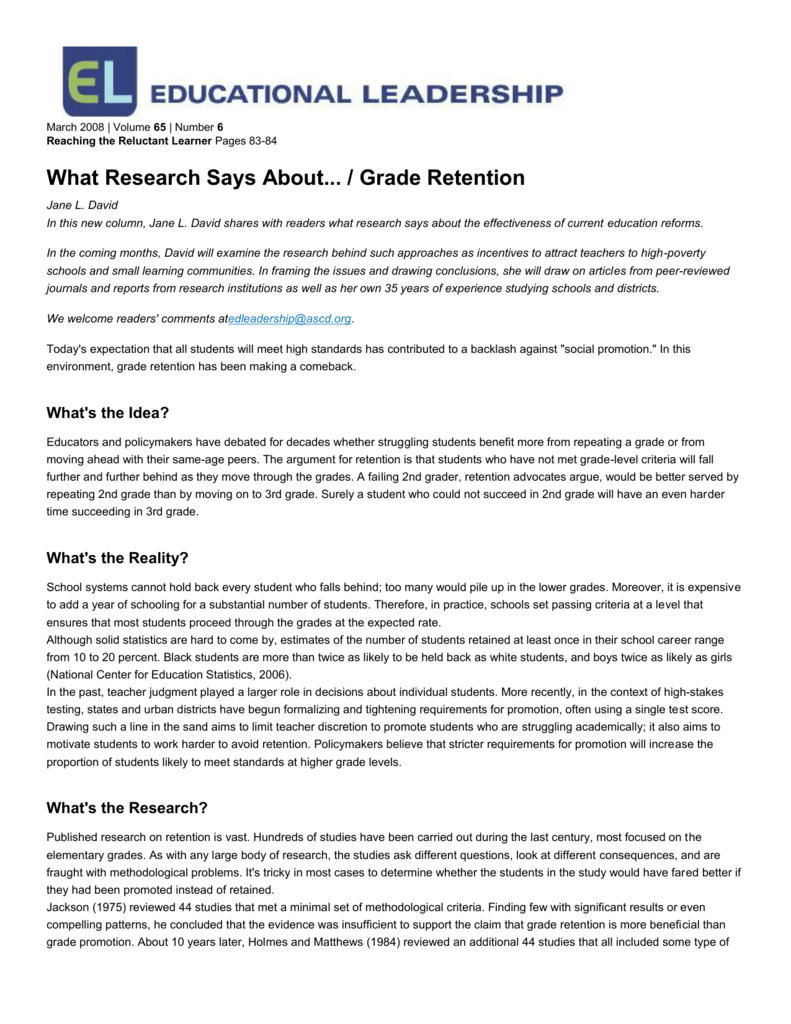 research on retention in kindergarten