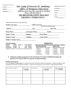 re-registration 2014-2015 - Our Lady of Sorrows Roman Catholic