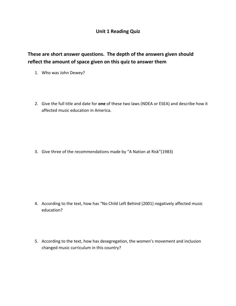 Unit 1 Reading Quiz