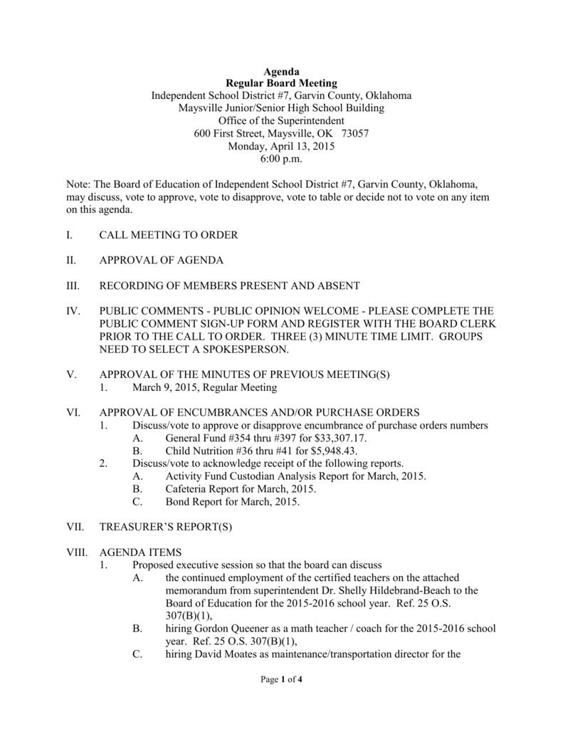 Agenda Regular Board Meeting Independent School District #7