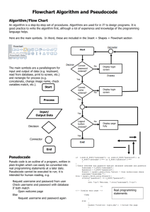 Make your own flow chart algorithm and pseudocode