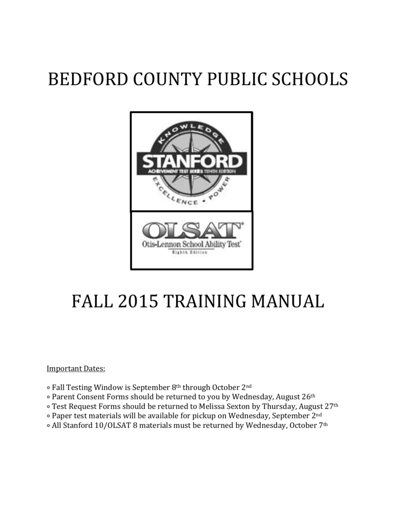 stanford 10 and olsat 8 training manual fall rh studylib net Army M4 TM Manual Olsat 8 Practice Test