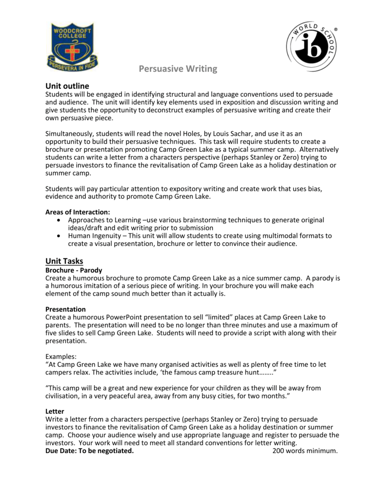Persuasive writing assessment tasks rubric expocarfo Gallery