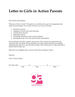 Letter to Girls in Action Parents
