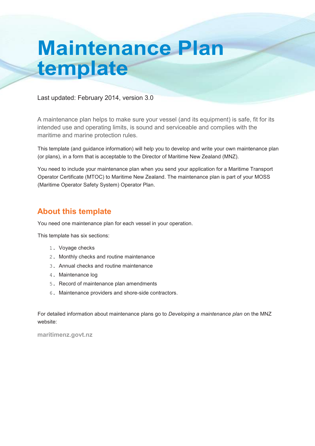 Maintenance Plan template