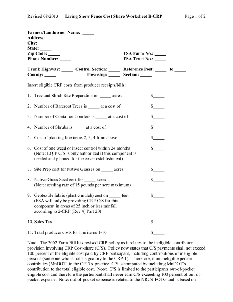Cost Share Worksheet B