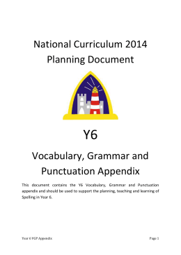 Oak Year 6 Vocabulary, Grammar and Punctuation Appendix