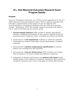 DL Hart Memorial Outcomes Research Grant Program Details