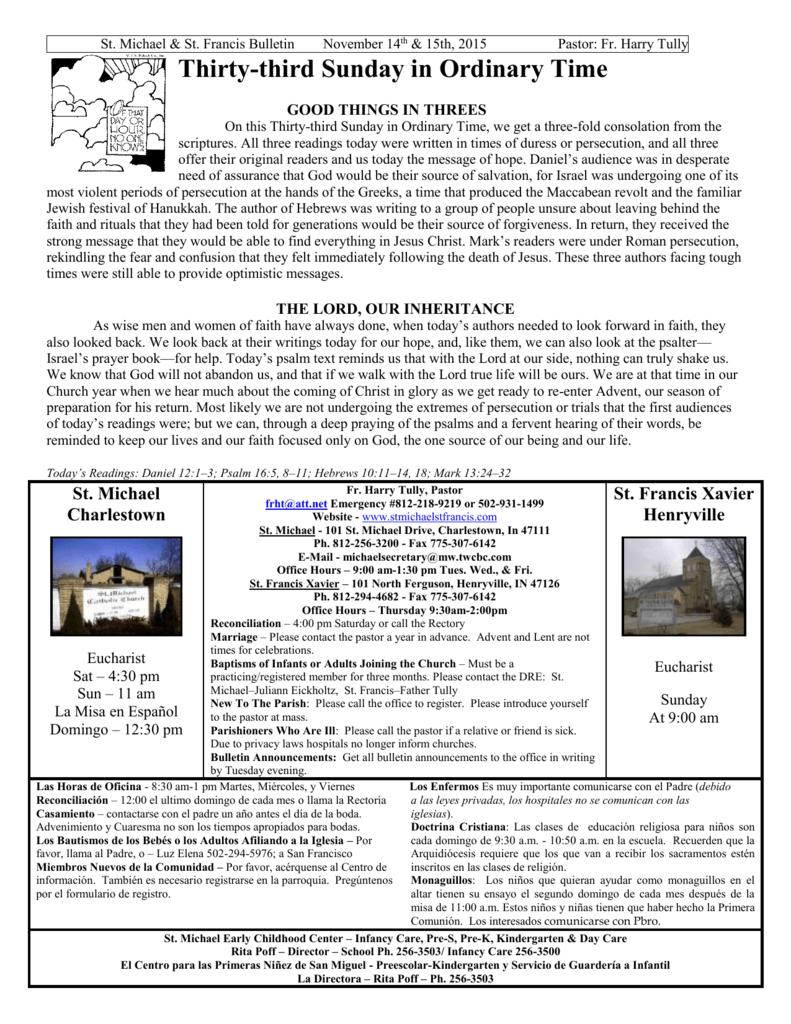 Nov 15 - St  Michael Parish