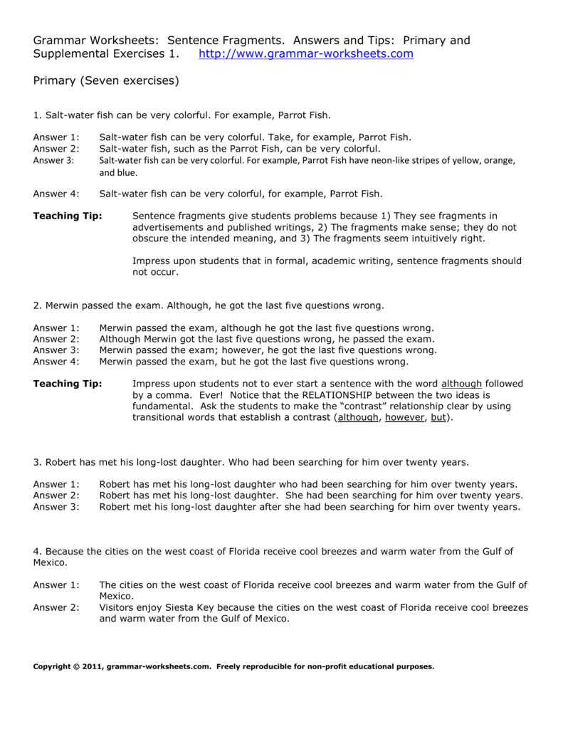 Sentences And Fragments Worksheet - Worksheet List