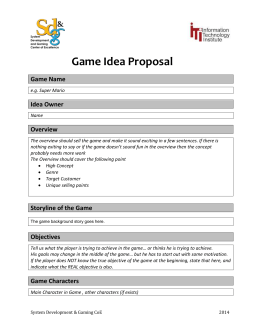 Game Idea Proposal Game Name