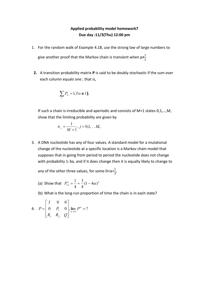 Applied Probability Model Homework7 Due Day 113thu 1200 Pm
