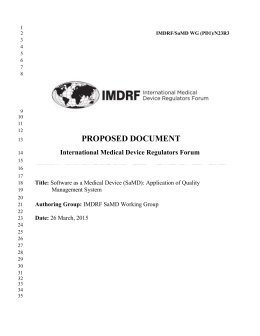 Proposed document: Software as a Medical Device (SaMD