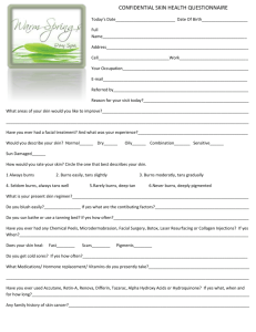 Confidential Skin Health Questionaire