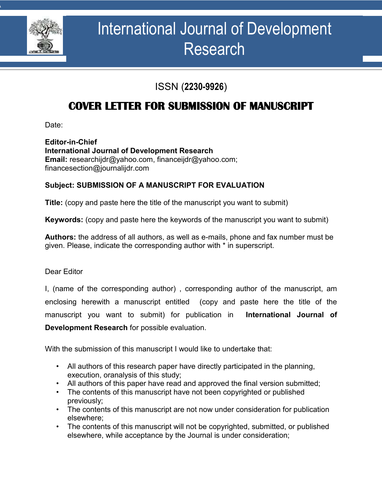 Cover letter - International Journal Of Development Research