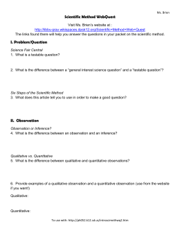 Scientific Method WebQuest