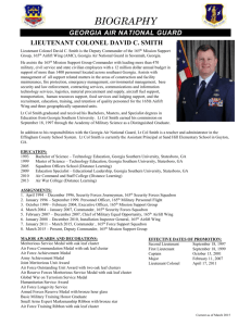 Lt Col David Smith`s Bio as of March 2015