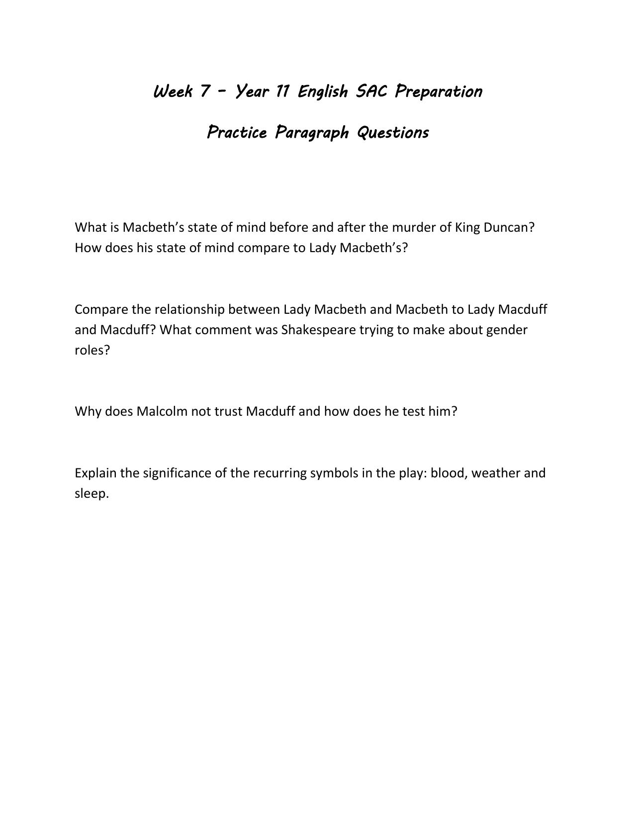 macduff characteristics
