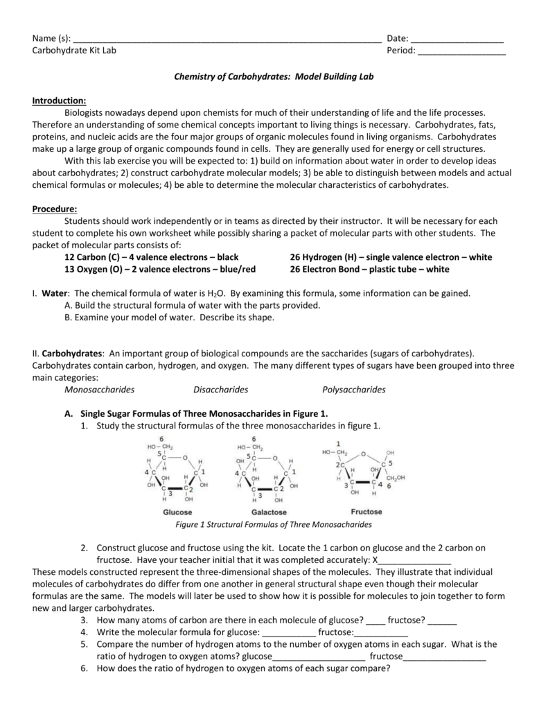 Chemical Carbohydrate Model Lab