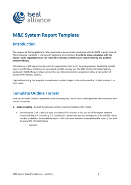 Impacts Code v2 M&E System Report Template
