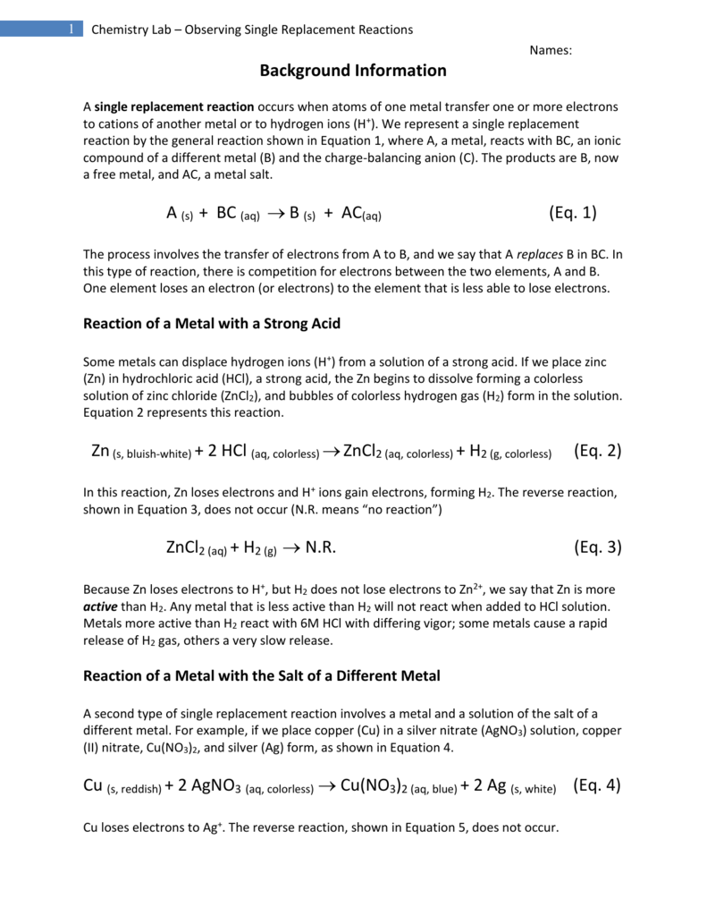 Chemistry Lab Single Replacement Reactions