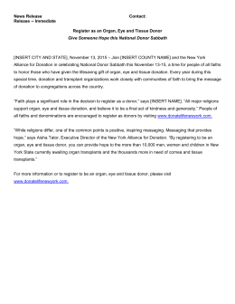 National Donor Sabbath Sample Press Release for Counties_2015