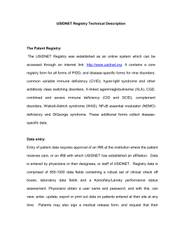 USIDNET Registry Technical Description The Patent Registry: The
