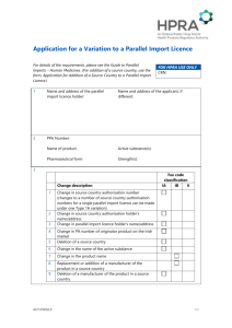Application for a Variation to a Parallel Import Licence