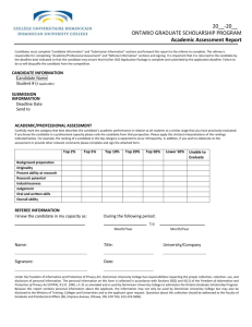 Academic Assessment Form - Dominican University College