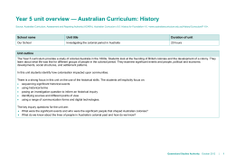 Year 5 unit overview * Australian Curriculum: History