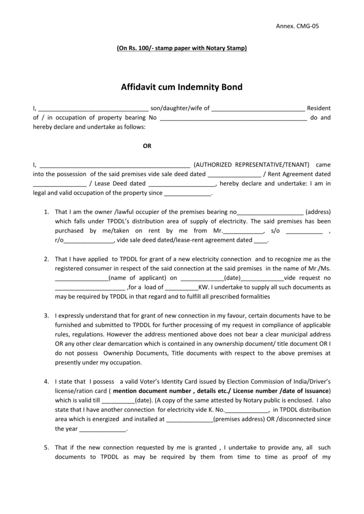 Affidavit Cum Indemnity Bond