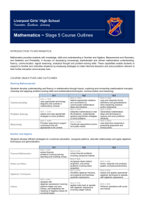 Mathematics ~ Stage 5 Course Outlines