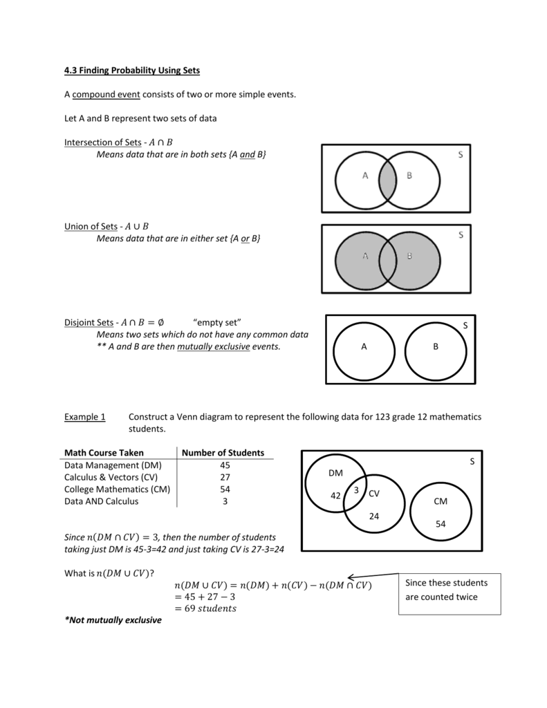 Venn Diagram Probability Examples Students Schematic Diagrams Logic 4 3 Finding Using Sets A Compound Event Consists Of Two Statistics Tree
