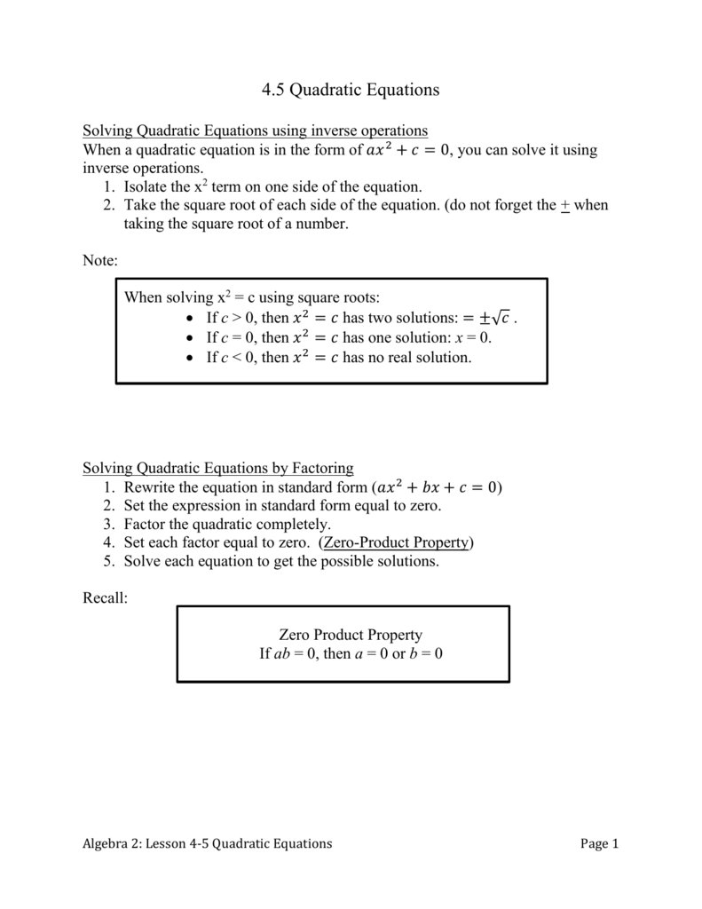 Worksheet Solving Quadratic Equations By Taking Square Roots