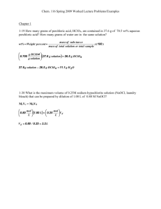 Chem. 116 Spring 2009 Worked Lecture Problems/Examples