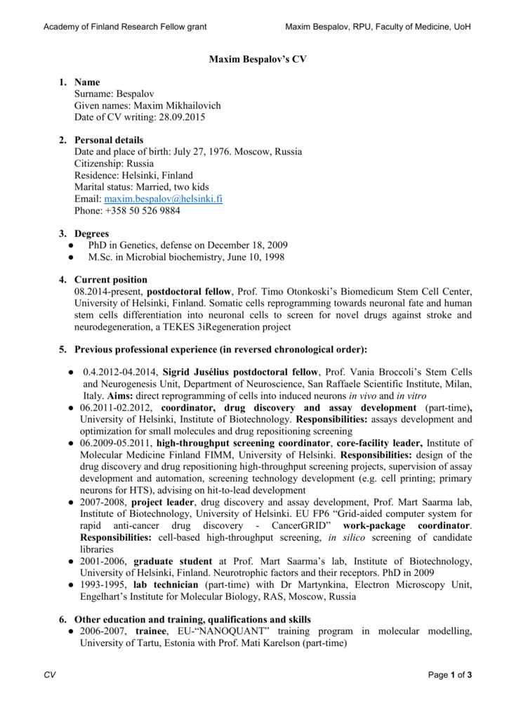 Maxim Bespalov`s CV - University of Helsinki