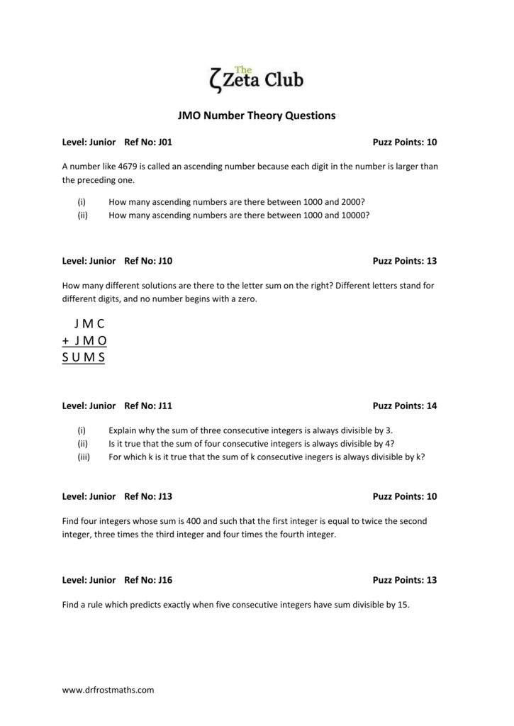 Worksheet JMO Number Theory Questions – Consecutive Integers Worksheet