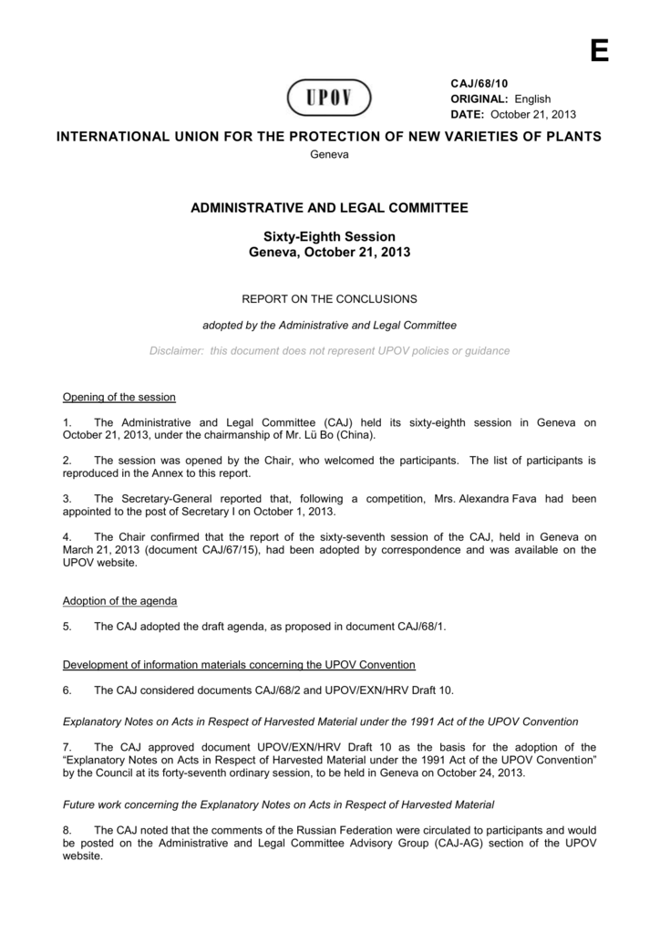 Program for the sixty-ninth session