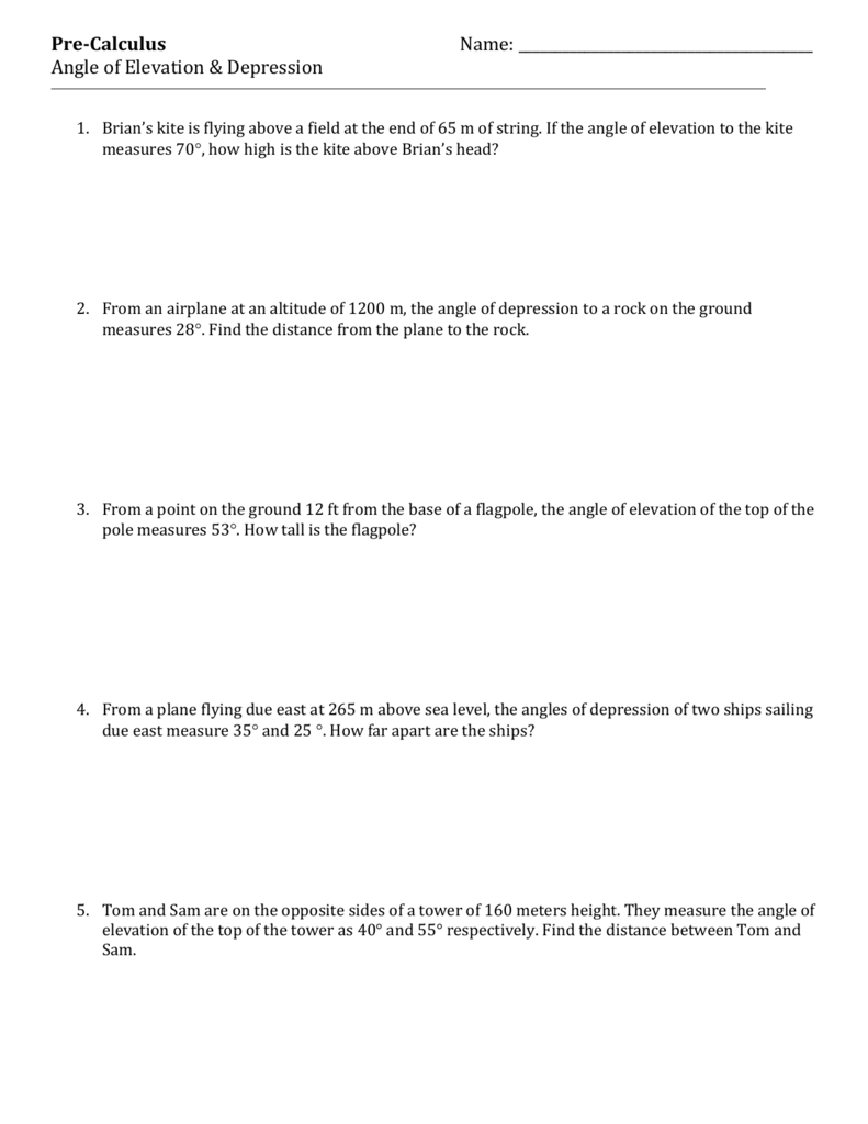 worksheet Angles Of Elevation And Depression Worksheet Answers angle of elevation depression trig worksheet 4