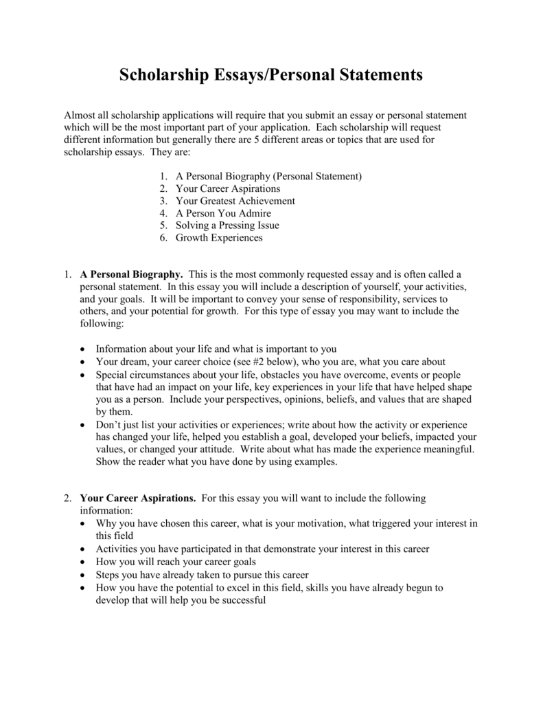 scholarship essays  personal statements