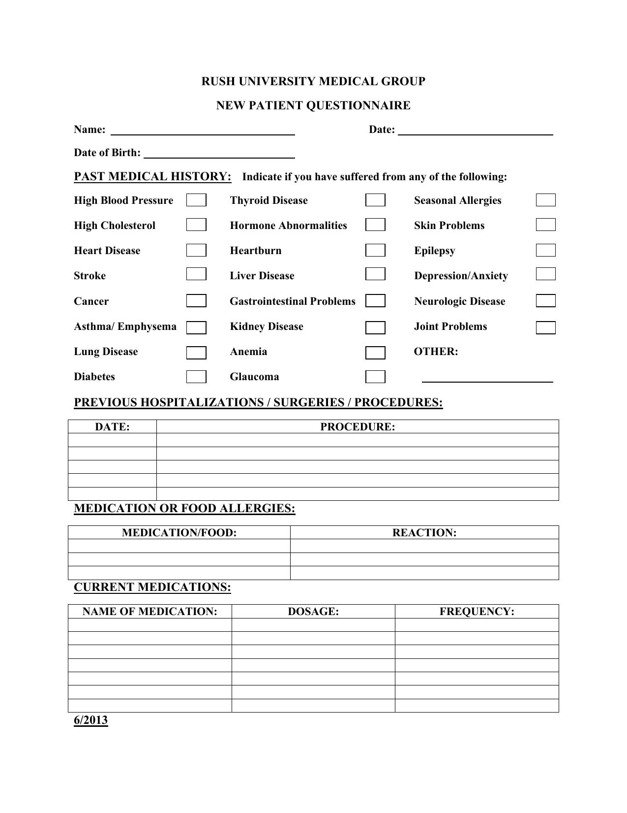 New Patient Questionnaire - Patient Portal
