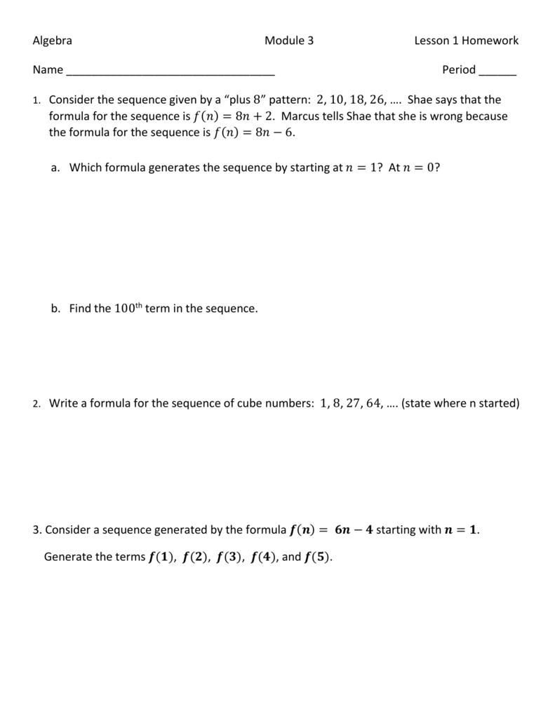 Mod 3 Lesson 1 HW