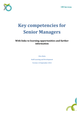 Key competencies for Senior Managers
