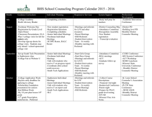 BHS School Counseling Program Calendar 2015