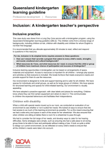 Inclusion, A kindergarten teachers perspective