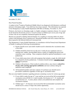Pertussis Letter 11.23.15 - North Penn School District